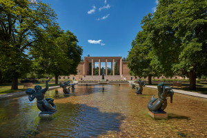 reflection pond with aquatic sculptures