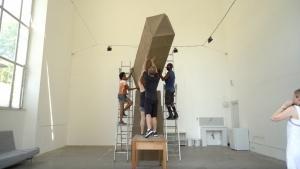 "Artist Karyn Olivier installing ""Moving the Obelisk"""