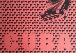 Screenprint: a red field covered in graphic black cows, the word Cuba, and a vintage car.