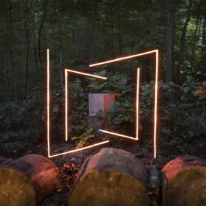 glowing orange led lights installed in green forested area