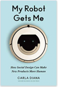 'My Robot Gets Me' book cover. A robotic vacuum with a smiley face against a light blue background.